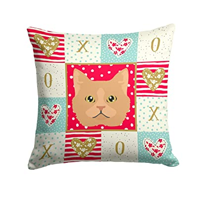 Caroline's Treasures CK5160PW1414 Selkirk Rex Cat Love Fabric Decorative Pillow, 14Hx14W, Multicolor : Garden & Outdoor