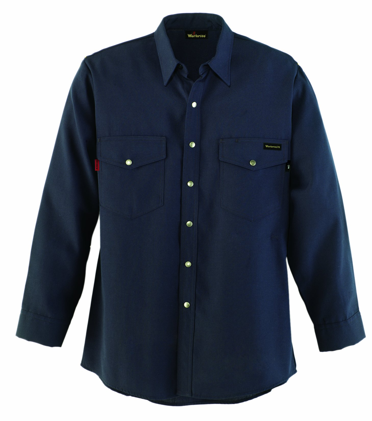 Workrite 220NX45NB44-0R Flame Resistant 4.5 oz Nomex IIIA Long Sleeve Western-Style Shirt, Snap Cuff, 44 Chest Size, Regular Length, Navy Blue