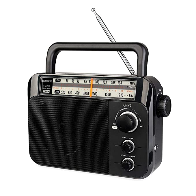 Retekess TR604 AM FM Radio Portable Transistor Analog Radio with 3.5mm Earphone Jack Battery Operated by 3 D Cell Batteries or AC Power(Black)