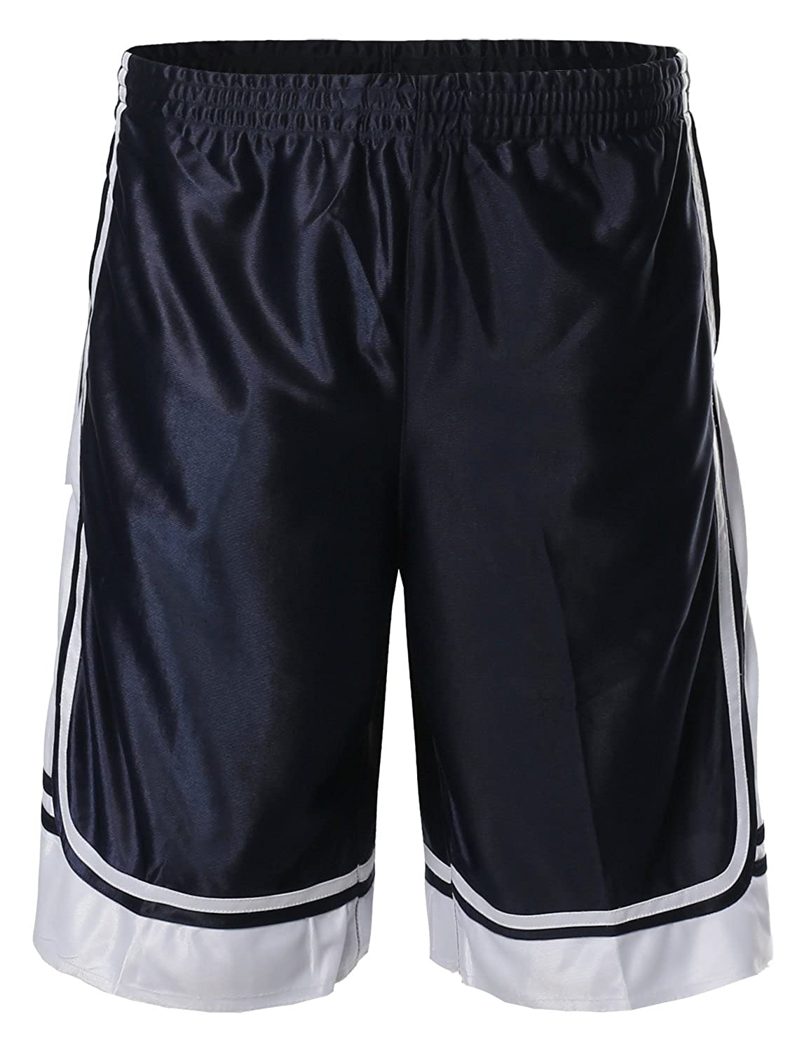 Fsmpts0001 Navy White Large Style by William SBW Men's Athletic Double Layer Drawcord Mesh Shorts S5XL