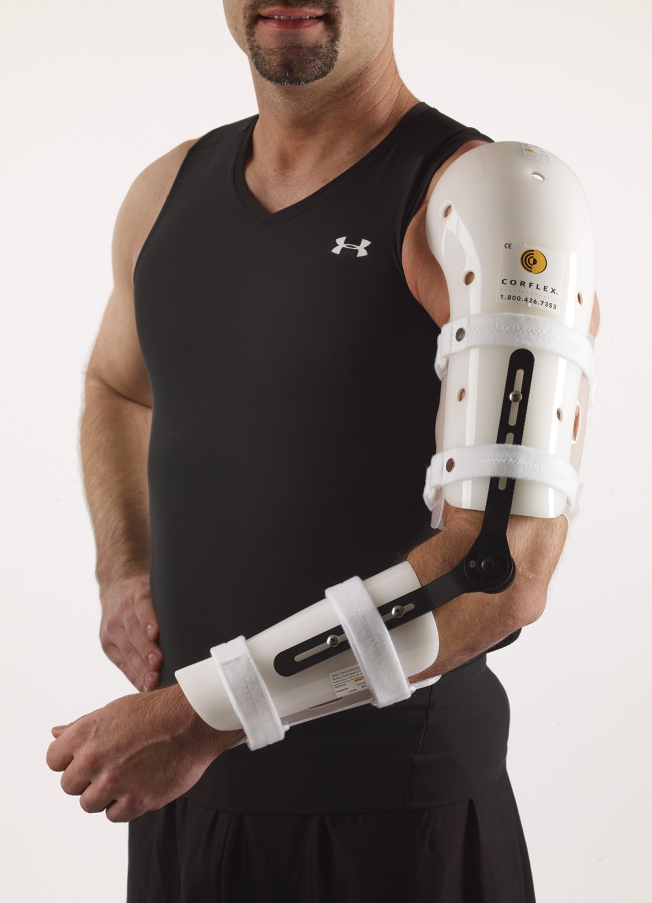 Corflex ElBOW ORTHOSIS WITH R.O.M. HINGE MED/Left Humeral Prox. 11-13'', Ulnar Prox. 9-11''