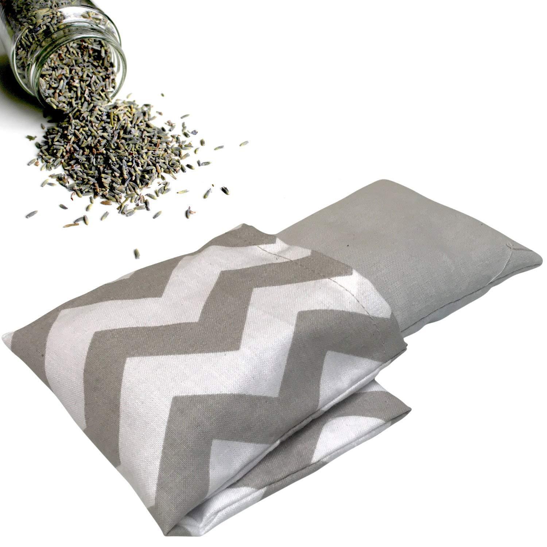 Housse lavable Garnissage avec lavande et /épeautre 20 x 9 cm Coussin lavande pour les yeux et les yeux Rayures gris blanc