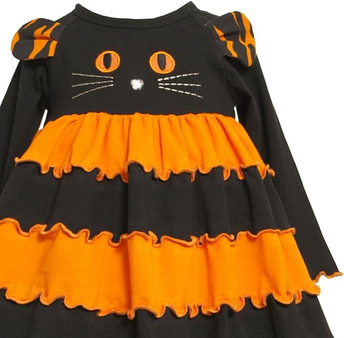 Halloween Cat Face Black Halter Neck Bodysuit Girls Baby Dress Outfit Set NB-24M