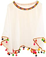Chakudee Fashion Multi Color Free size Ready to Wear Crepe Poncho Crop Tops for Women/Girls