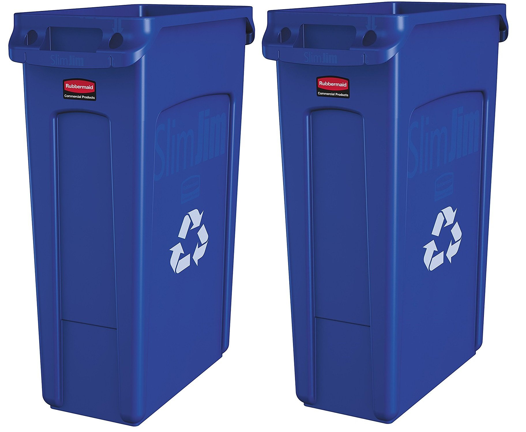 Rubbermaid Commercial Slim Jim Recycling Container with Venting Channels, Plastic, 23 Gallons, Blue (Pack of 2)