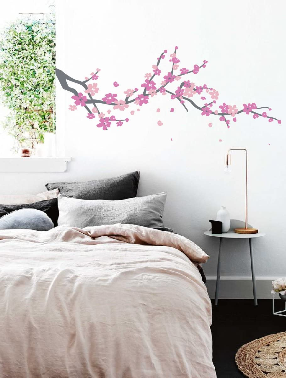 Large Japanese Cherry Blossom Tree Branch Vinyl Decal Wall Sticker for Girls Flowery Room Decor (Grey, Pink, Light Pink, 19x48 inches)
