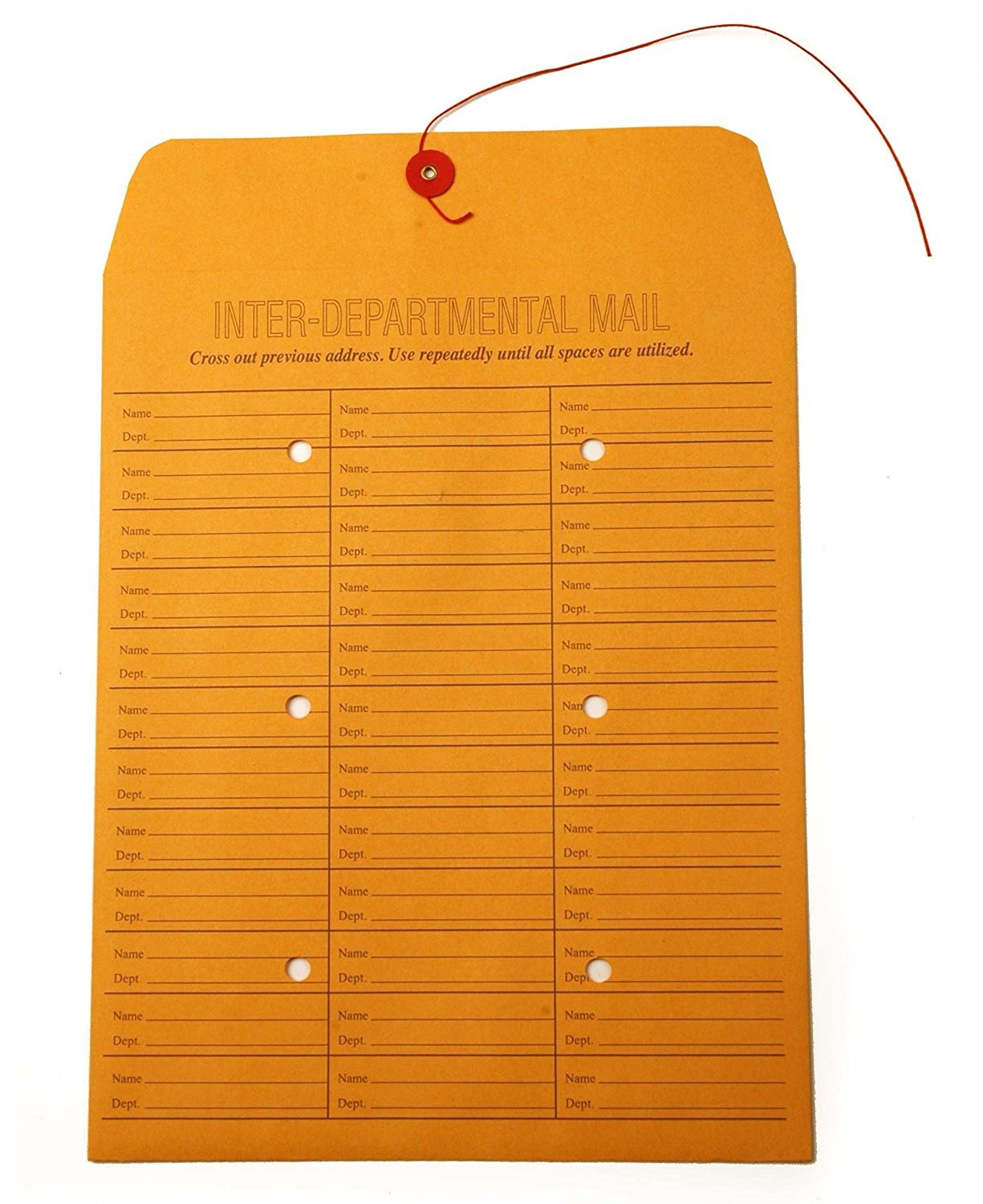 Quality String-Tie Jumbo Size Inter-Department Envelopes, 12 x 16 Inches, 25 per Pack, Printed Both Sides - 71 Entries
