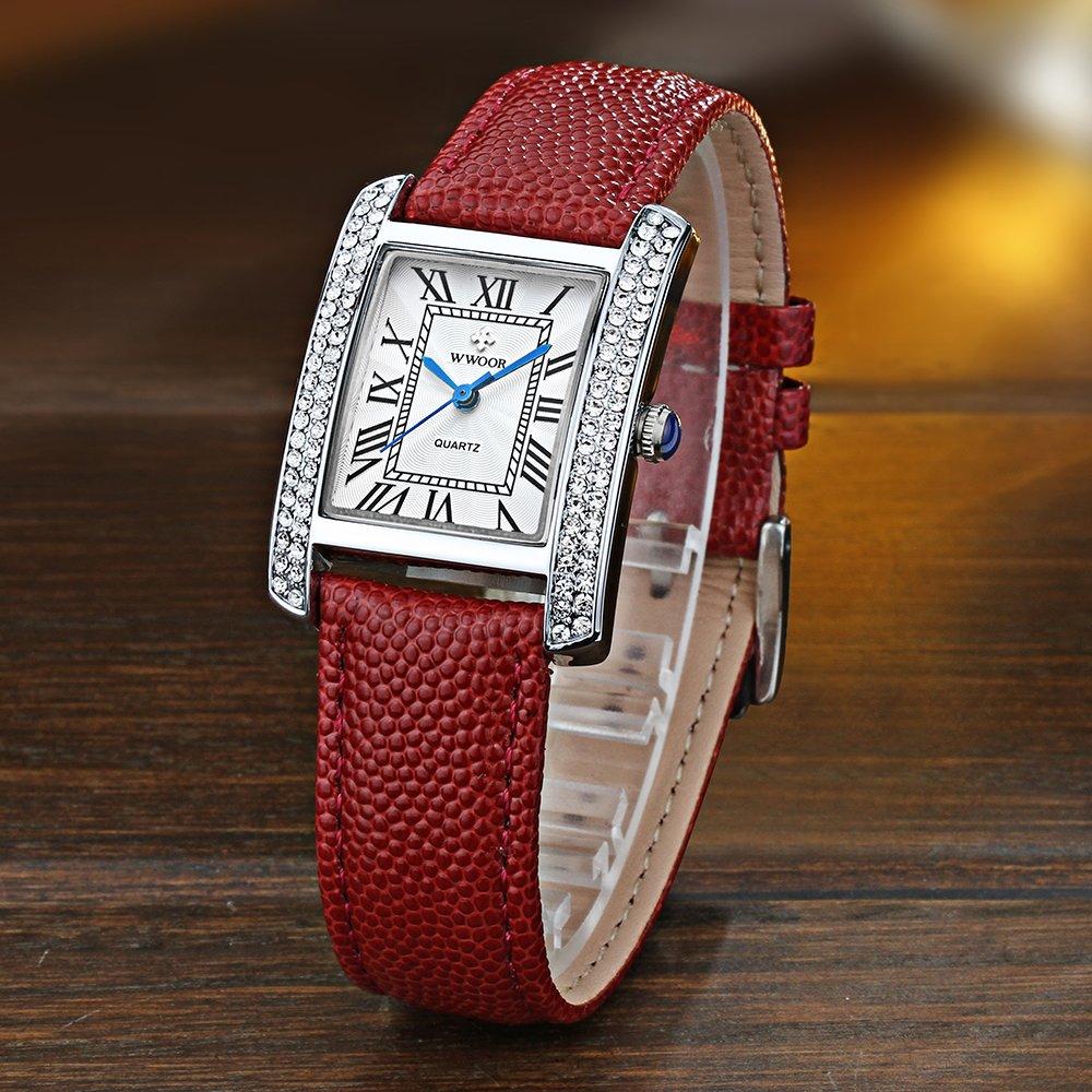 Amazon.com: WWOOR Womens Watches Quartz Watch Ladies Wrist Watches for Women Stainless Steel Strap WR0011 (red Silver White): Watches