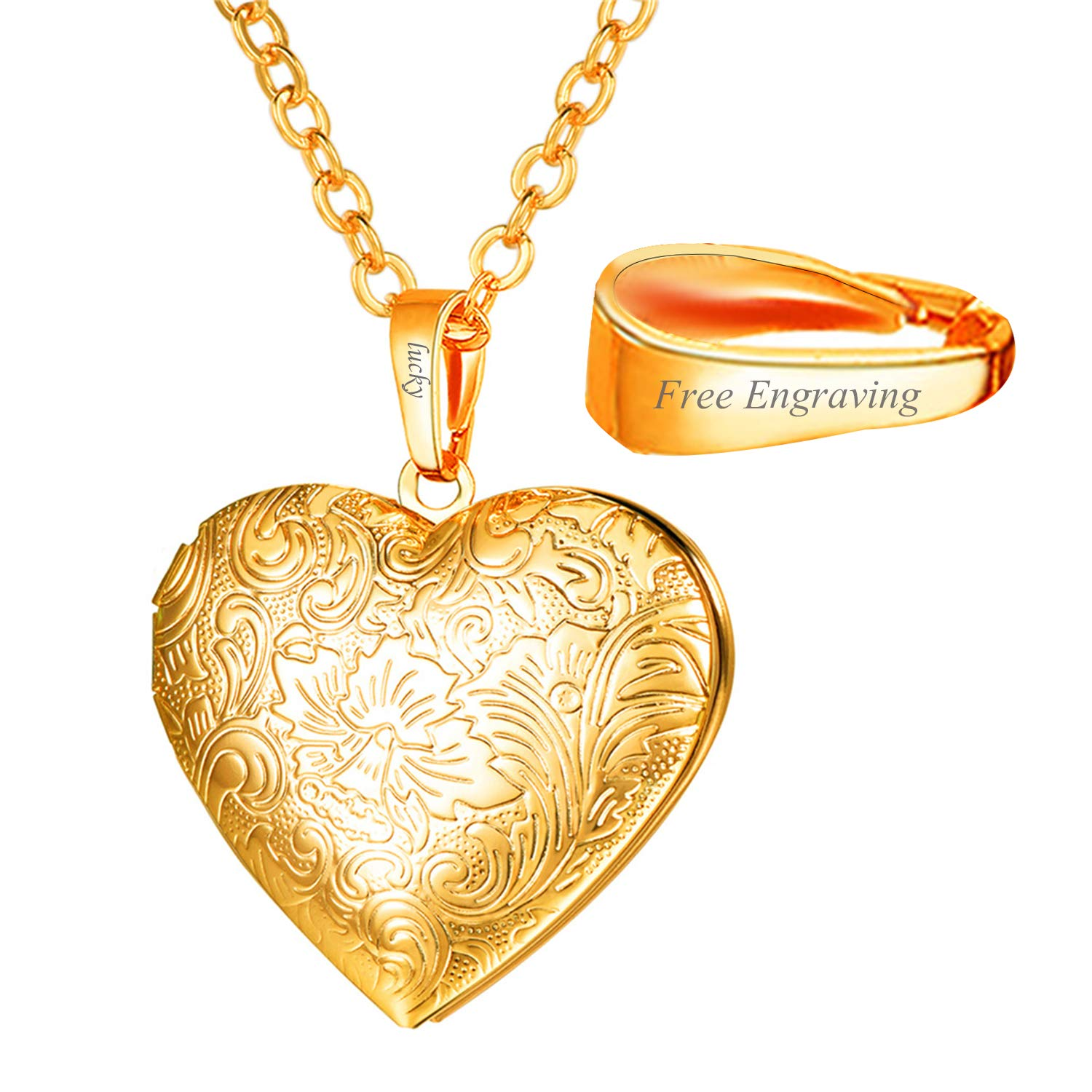 e6716ac03f954c Amazon.com: U7 Flowering Heart Photo Locket Necklace Customizable Platinum  Plated Link Charm Personalized Engraved Pendant That Hold Picture Gift for  Her: ...