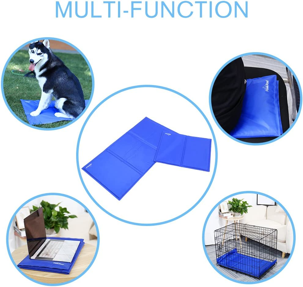 perfect for summer use L:35.4*19.7 Blue Large Pet self cooling mat comfortable and resistant PAWZ Road Nontoxic Dog cooling mat