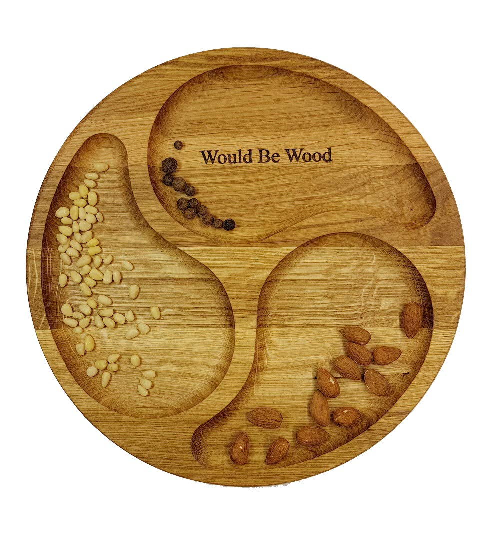 Wood Cutting Board Round 13.78 inch Reversible Ash Wood Plates with 3 figured sections by Would Be Wood