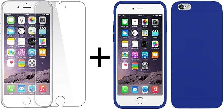 TBOC® Pack: Funda de Gel TPU Azul + Protector Pantalla Vidrio Templado para Apple iPhone