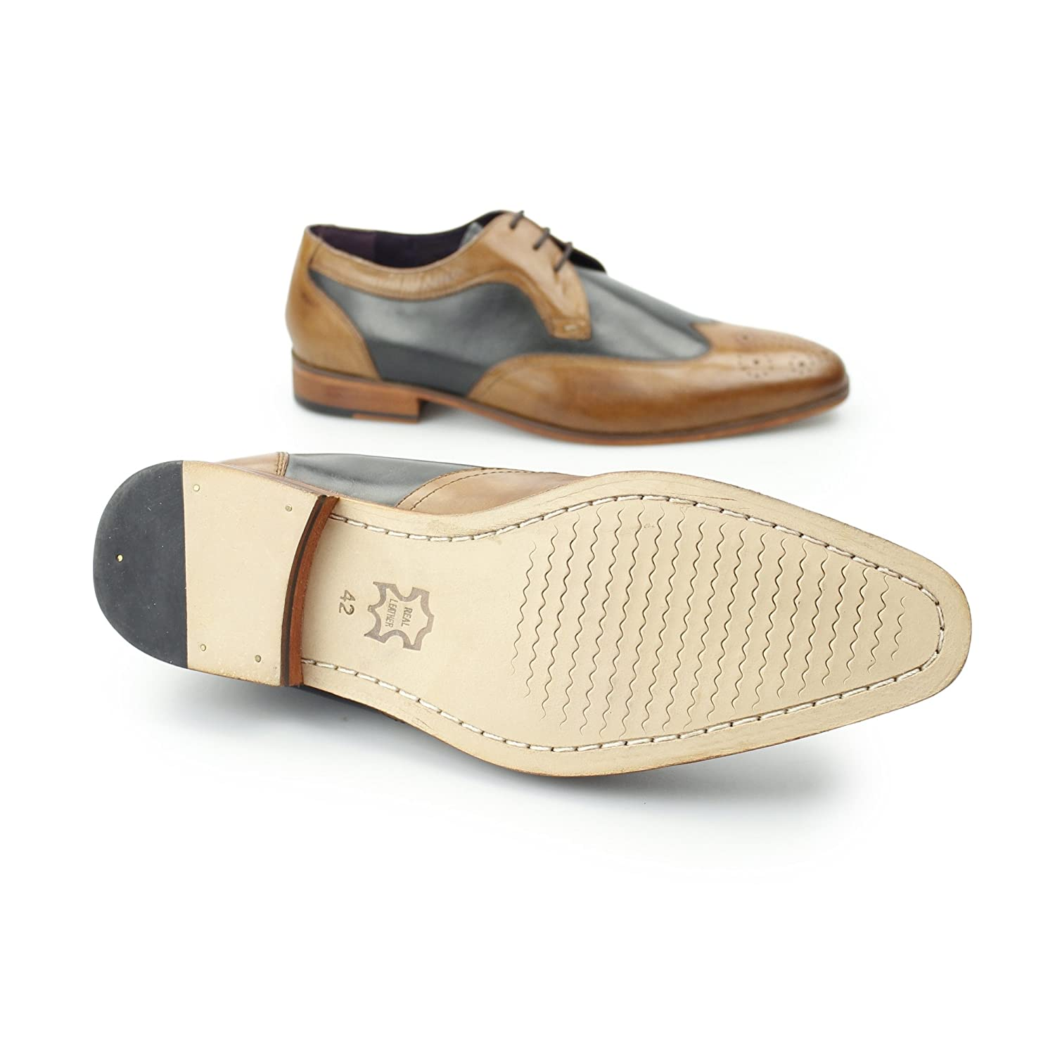 b3cc75f57719 Gucinari Mille Mens Leather Contrast Derby Brogues Tan Navy  Amazon.co.uk   Shoes   Bags