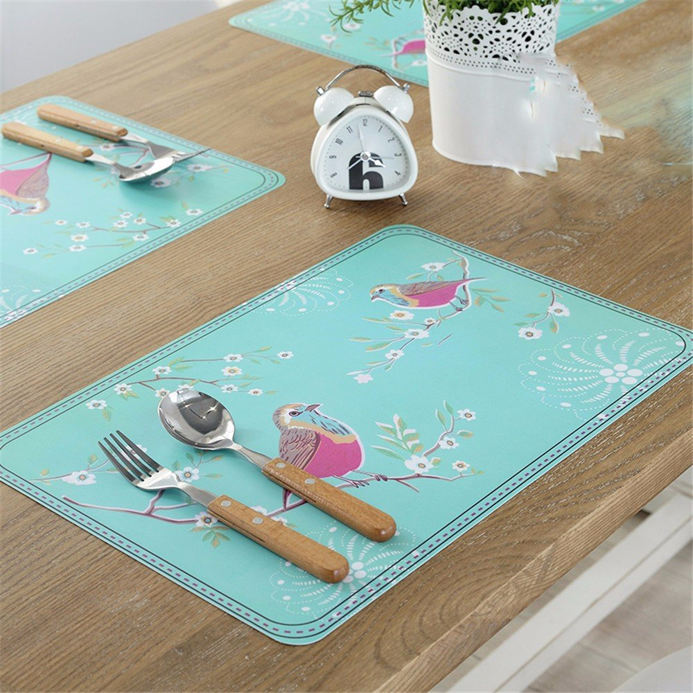 XXSZKAA Simple Table Mat European-Style Insulation Pad Oil And Water Resistant Kitchen Coasters Bowl Pad Tray Pad Creative Animal Bird Table Mat, A 4 Pieces, 45 30Cm