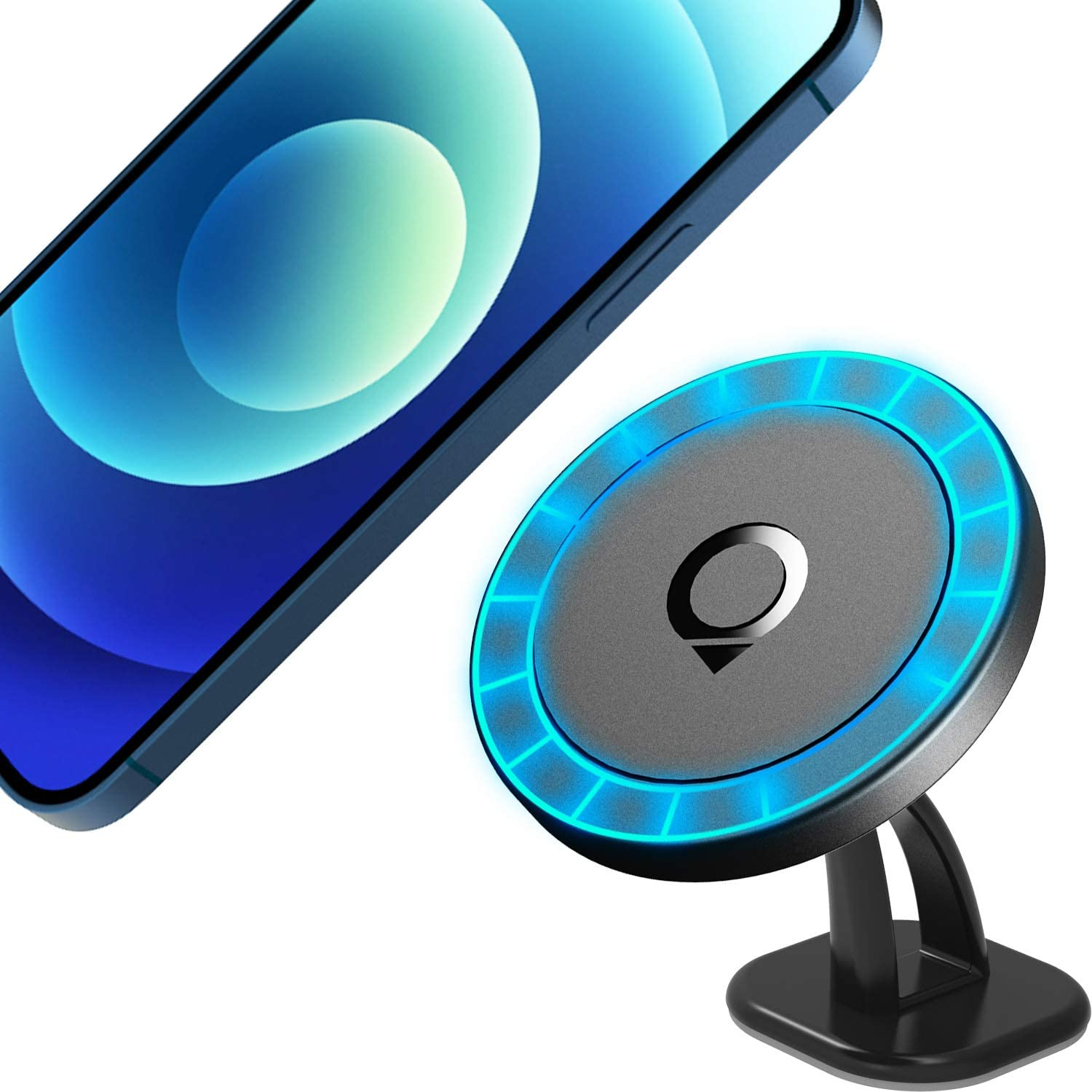 Quarble Magnetic Dashboard Car Mount Compatible with MagSafe Case and iPhone 12 Pro Max Mini, 360° Adjustable Phone Holder No Metal Plate Needed 2021 All New