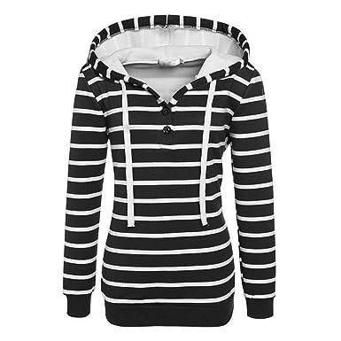 409a39f07726a Robe Femme Mince Rayures Noir Et Blanc Bouton Poitrine à Capuche Manches  Longues Hoodie,Black