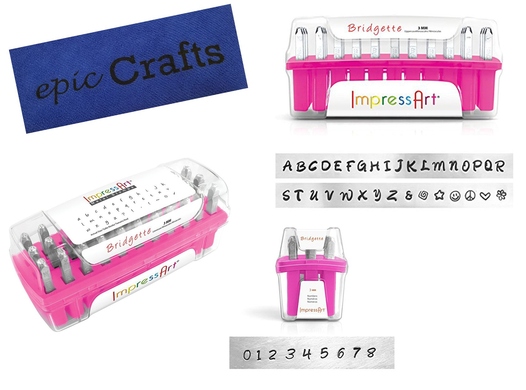 Metal Stamping Kit with Bridgette Lowercase Metal Letter Stamps, 3mm, Bundled with Bridgette Uppercase Letter Metal Stamp Set, Bridgette Number Metal Stamps Set and Epic Crafts Microfiber Cloth