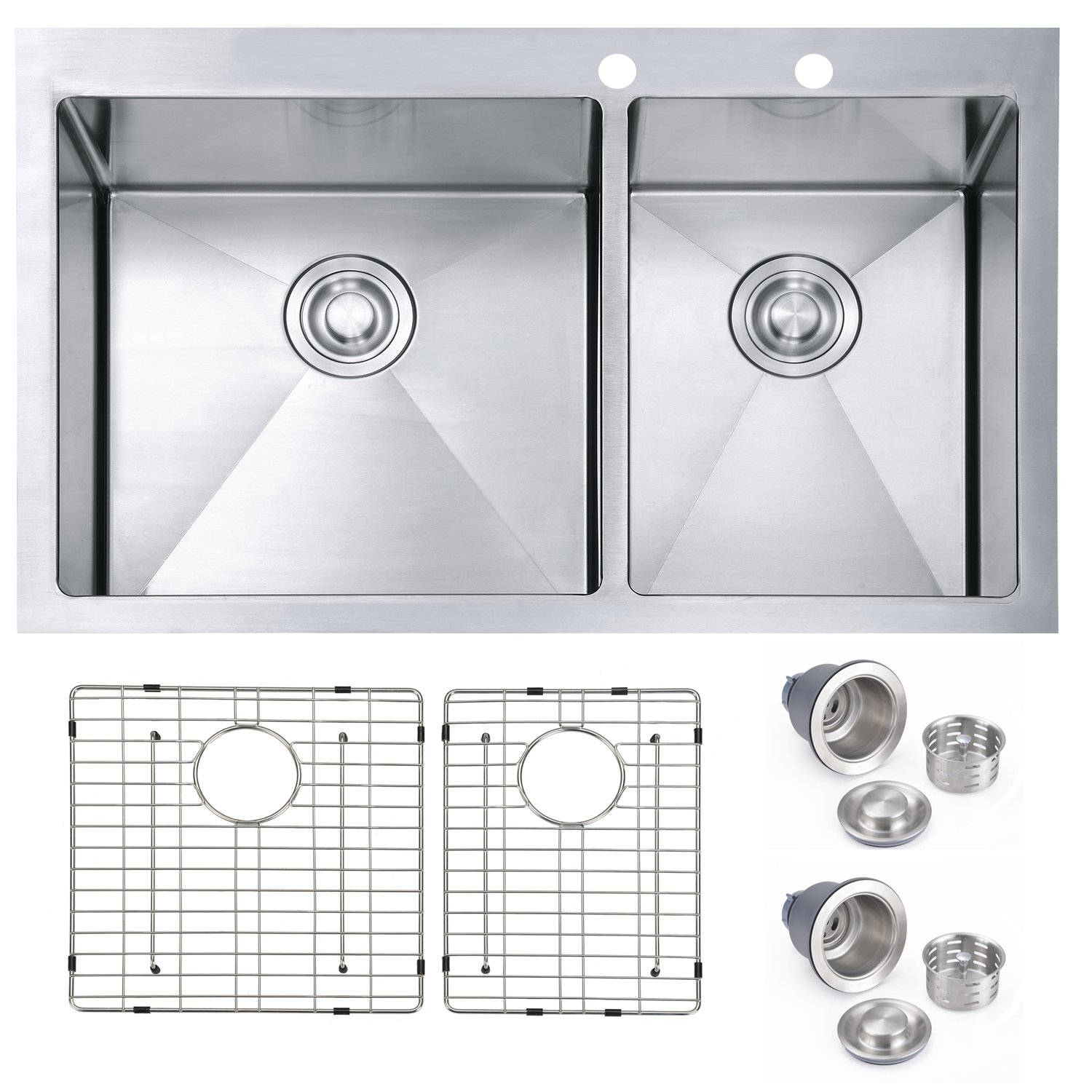"""SINOGY 33""""x22""""x10"""" Inches 60 40 Stainless Steel Topmount Drop In"""