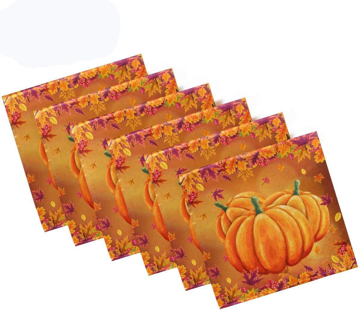 Pfrewn Autumn Pumpkin Maple Leaf Cloth Napkins Set of 6 Fall Sunflower Dinner Napkins Solid Washable Reusable Polyester Table Napkins Oversized 20