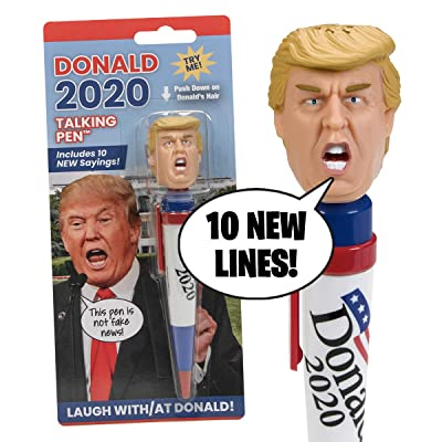 NEW Donald Trump 2020 Talking Pen, 10 NEW President Trump Sayings, Trump's Real Voice, Just Click & Listen, Funny Gifts For Democrats or Republicans: Toys & Games