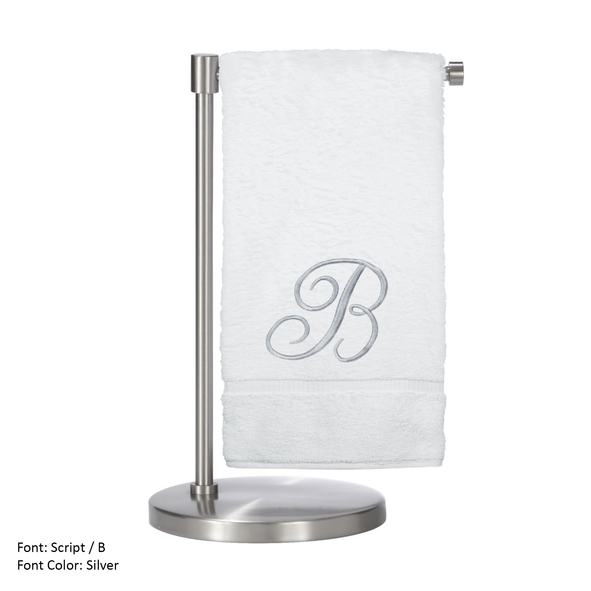 Monogrammed Bath Towel, Personalized Gift, 27 x 54 inches - Set of 1 - Silver Script Embroidered Towel - 100% Turkish Cotton- Soft Terry Finish - for Bathroom or Spa - Script B White