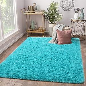 Terrug Soft Kids Room Rug, Blue Shag Area Rugs for Bedroom Living Room Carpet,Plush Fluffy Fur Rug for Nursery Girls Dorm Home Decor, 4 X 6 Feet, Blue
