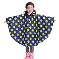 Kids Hooded Waterproof Poncho Unisex Raincoat Children Rainwear Cape with Portable Strorage Bag for 80-160cm