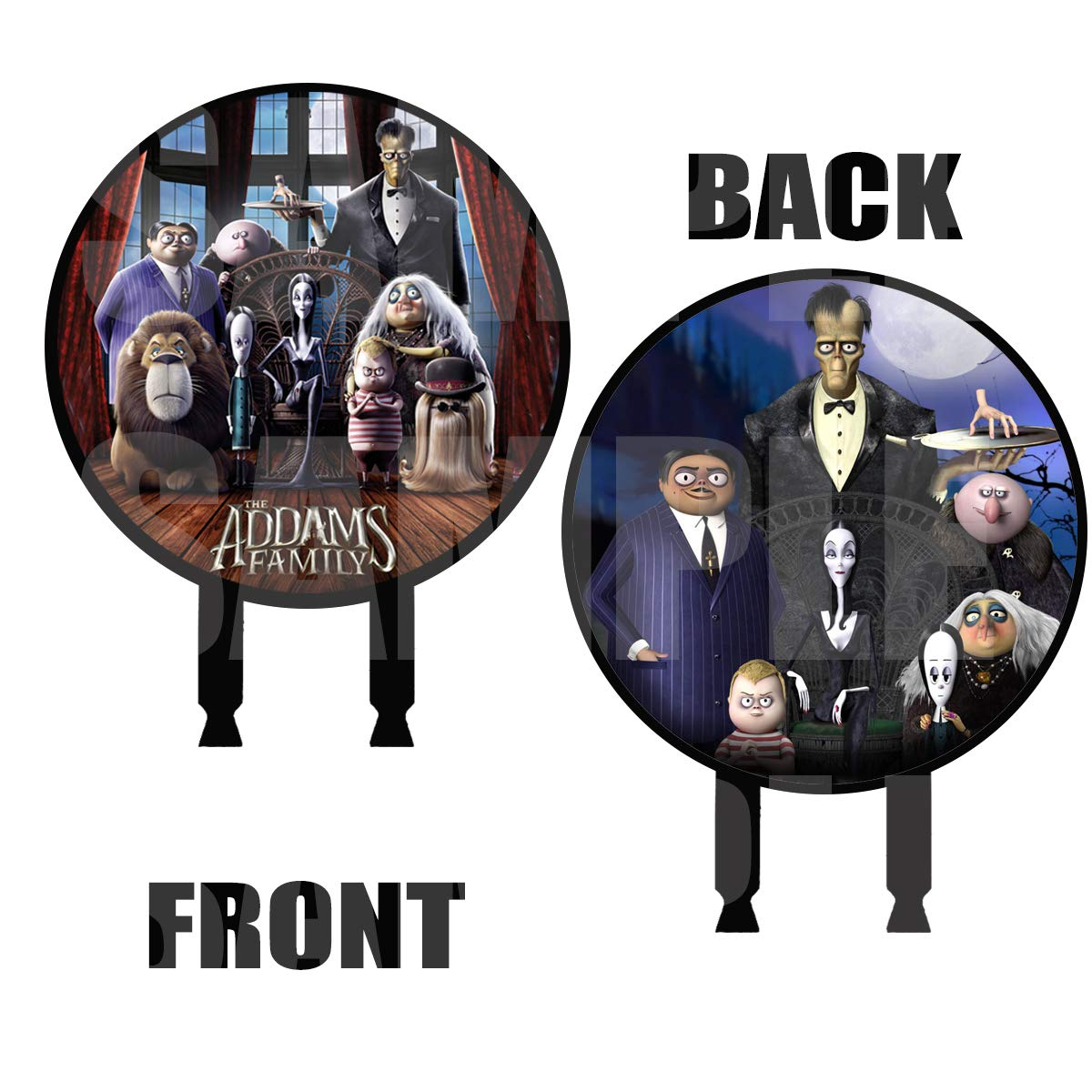 Addams Family Movie Cake Topper, 6 inch Round Circle 2 Sided Centerpiece Different Images Movie, 1 pc, Halloween Cousin IT, Wednesday, Morticia, Gomez, Thing Hand, Pugsley, Margaret by Party Over Here