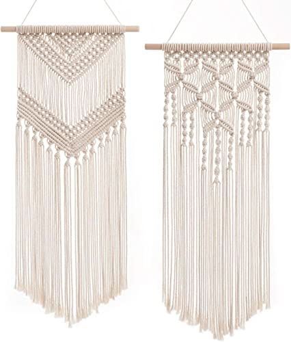 Dahey 2 Pcs Macrame Wall Hanging Decor Woven Wall Art Macrame Tapestry Boho Chic Home Decoration for Apartment Bedroom Nursery Gallery,13 W 27 L and13 W 29 L