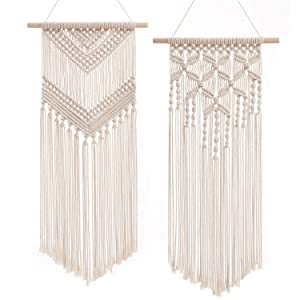 "Dahey 2 Pcs Macrame Wall Hanging Decor Woven Wall Art Macrame Tapestry Boho Chic Home Decoration for Apartment Bedroom Nursery Gallery,13"" W×27"" L and13 W×29"" L"