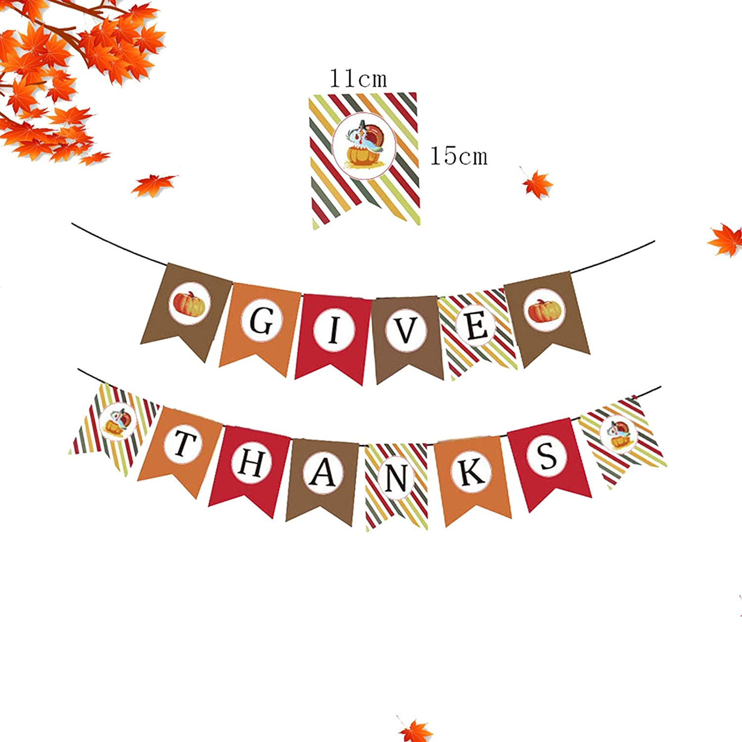 Eseres Thanks Give Paperboard Banner Decorations, 2 Pcs Thanksgiving Fall Pumpkins Maple Leaves Paper Banner Decor for for Home Office School Party Decor Thanksgiving Decoration