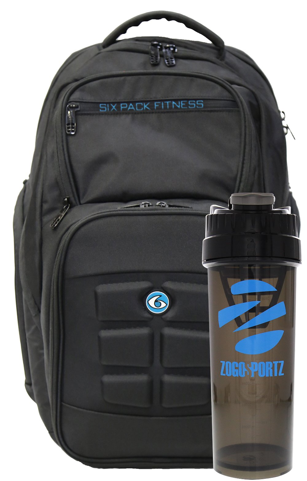 6 Pack Fitness Expedition Backpack W/ Removable Meal Management System 500 Black/Neon Blue w/ Bonus ZogoSportz Cyclone Shaker