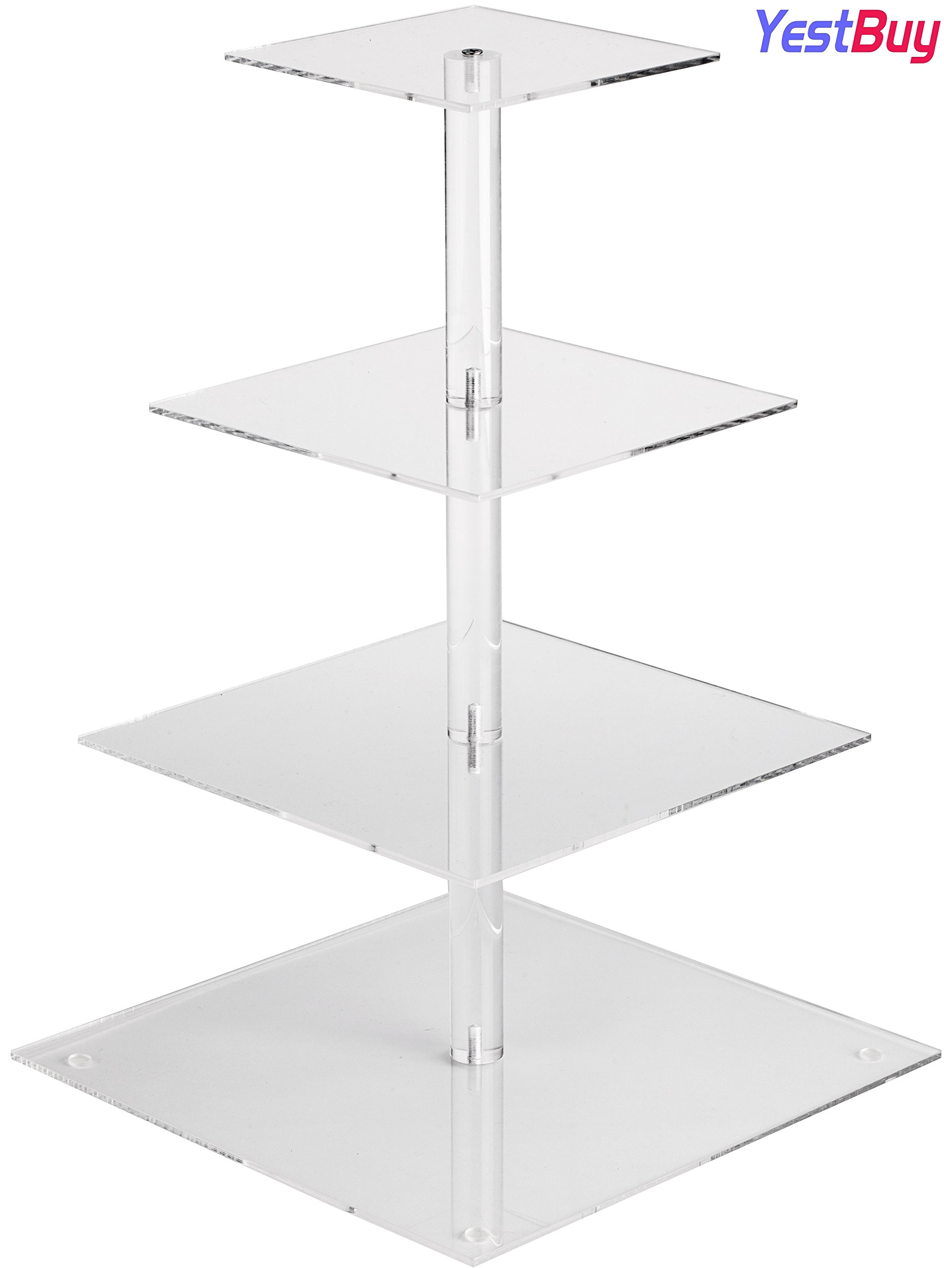 YestBuy 4 Tier Maypole Square Wedding Party Tree Tower Acrylic Cupcake Display Stand (18.7 Inches) …