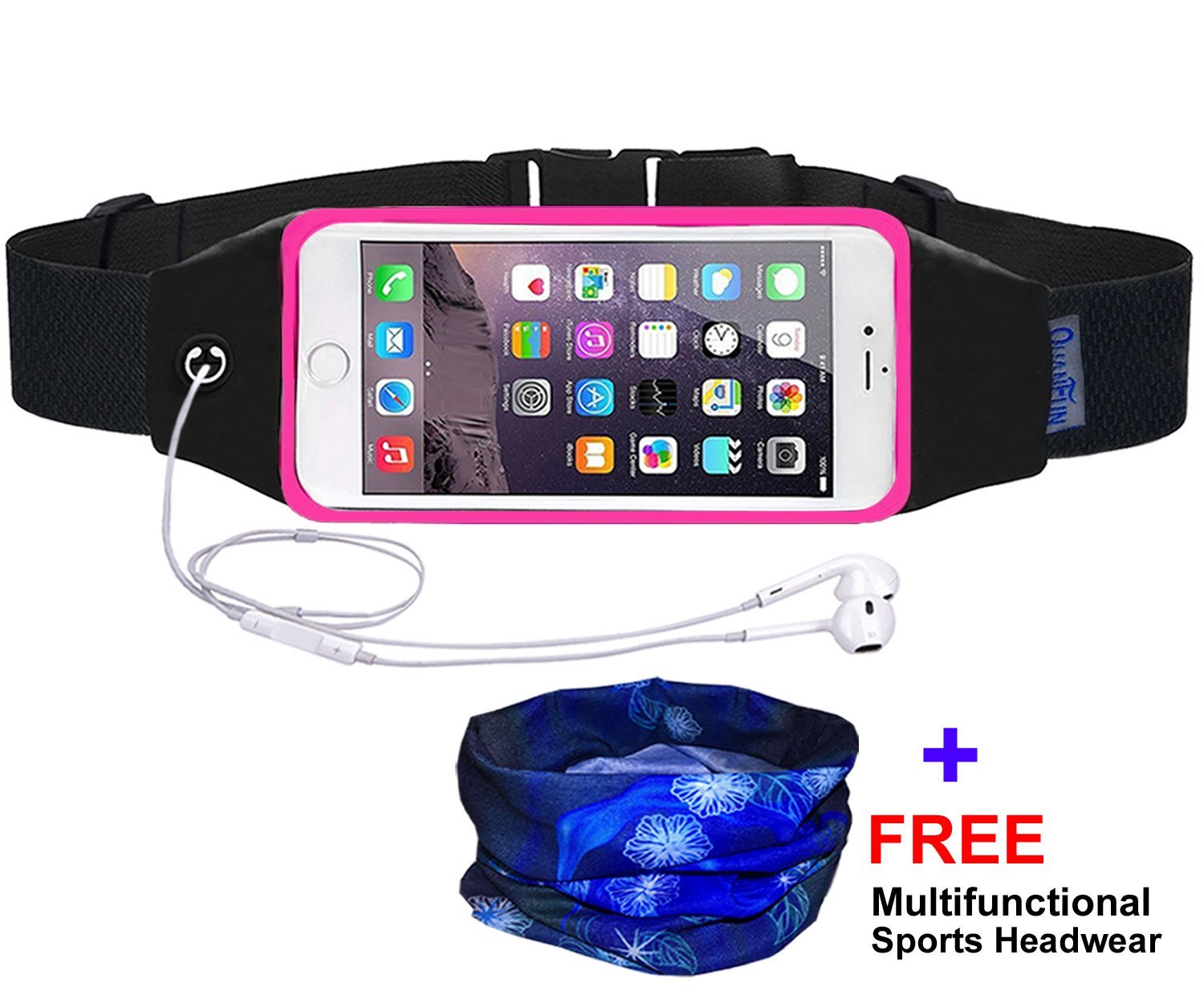 QUANFUN Compatible iPhone X/8 Plus/8/6/6s 7 Plus Running Belt Waist Bag, Fanny Pack Running Wristbands Sports Workout Fitness Holder Pouch Compatible Galaxy s8 s7 Plus,All UP to 6.3'' Cell Phones
