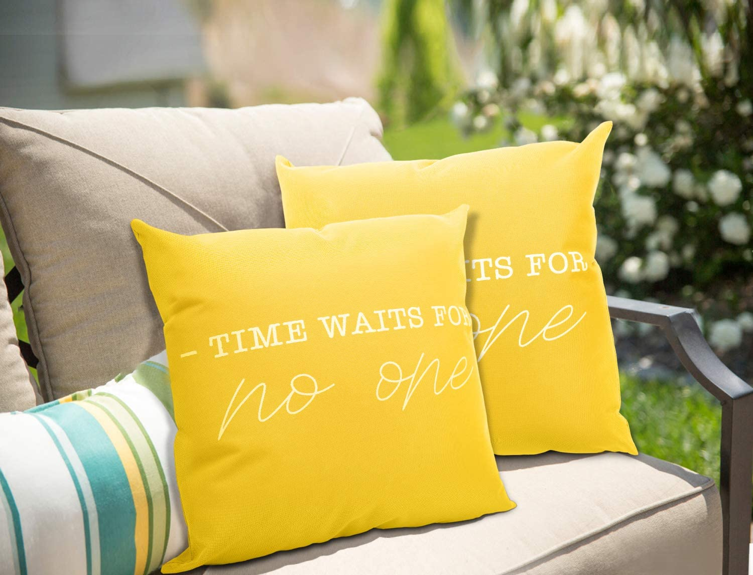 MoKo 2-Pack Waterproof Throw Pillow Cover, PU Coating Outdoor Pillow Cases Letter Prints Decorative Square Cushion Covers for Patio Couch Home Garden Decoration, 18