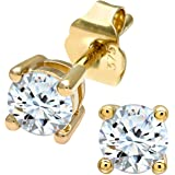 Naava Women's 0.50 ct J-I2 Single-Stone Diamond, 0.25 ct Each on 9 ct Yellow Gold Earring