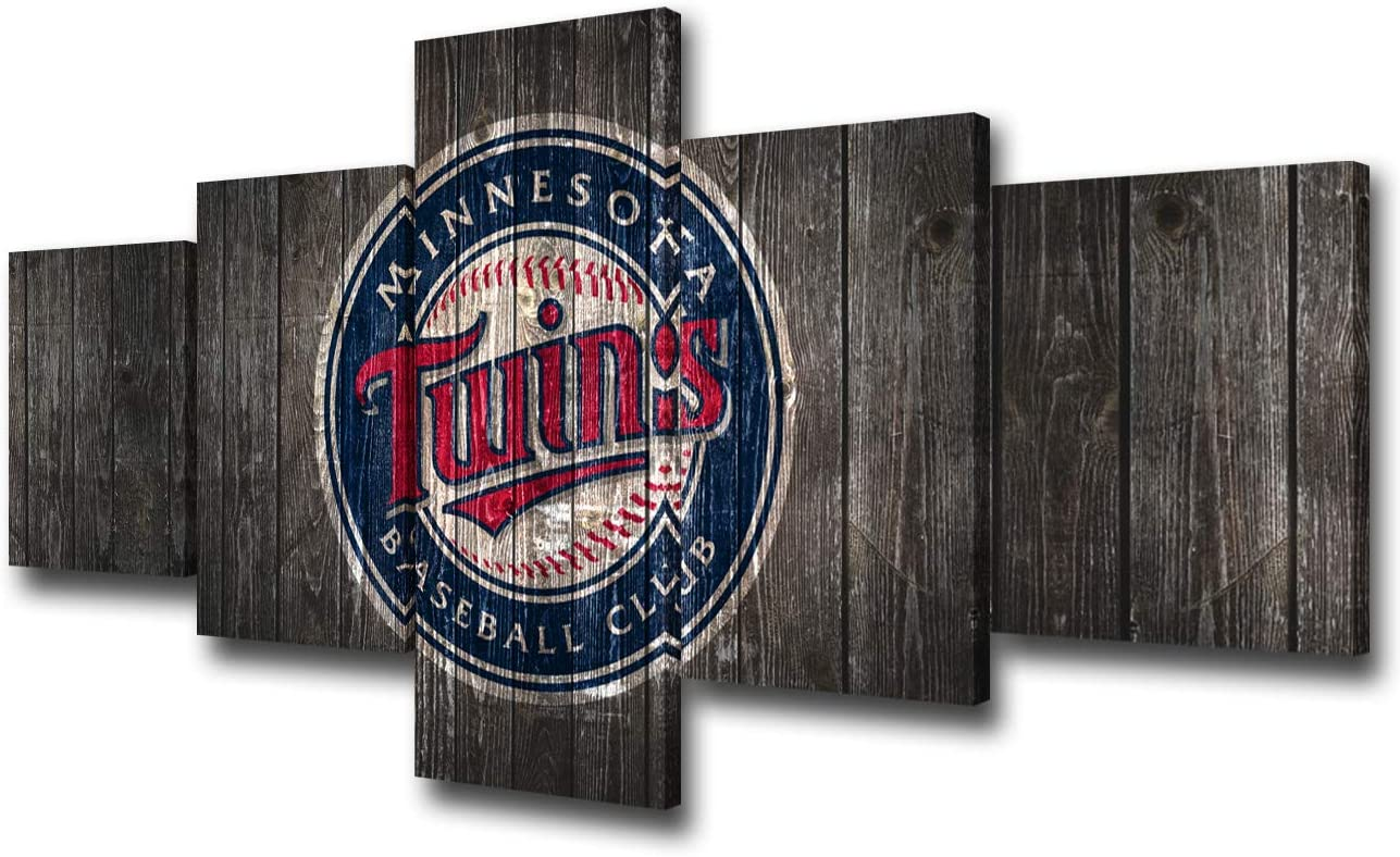 """TUMOVO Minnesota Twins Wall Art for Living Room Sports Modern Home Decor Canvas Sports Pictures Wooden Look House Decoration American Artwork Paintings 5 Pieces Posters and Prints 50"""" Wx24 H"""