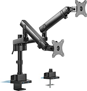 VIVO Premium Aluminum Full Motion Dual Monitor Desk Mount Stand with Lift Engine Arm, Pole Extension, and USB Ports, Fits Screens up to 32 inches (STAND-V102BDU)