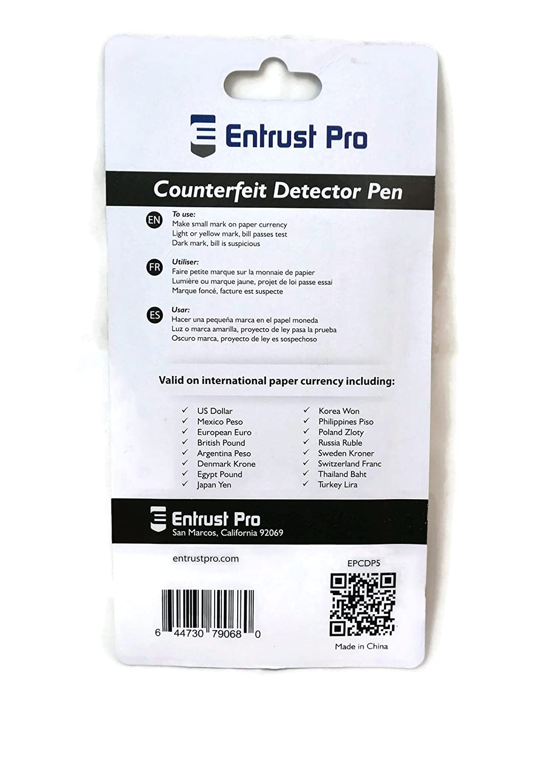 Amazon.com : Entrust Pro Counterfeit Money Detector Pen Marker (5-Pack), Dollars, Pesos, Euros, Pounds and Other Paper Bill Currencies : Office Products
