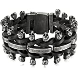 MunkiMix Stainless Steel Genuine Leather Bracelet Bangle Black Skull Braided Adjustable Biker Men