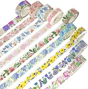 IVLWE Flowers & Plants Masking Washi Tape Set | 9 Rolls | 0.6 Inch (15mm) Wide | for Scrapbooks, Photo Frames, Bullet Journals, Arts and Crafts. (Assorted Memorial of Flowers)