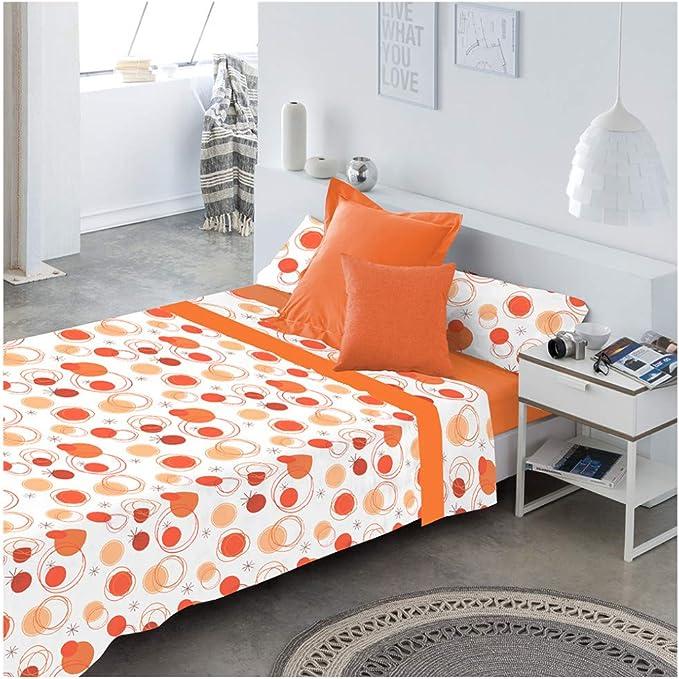 COTTON ARTean Juego de sabanas LLANES Naranja Cama de 150 x 190 ...