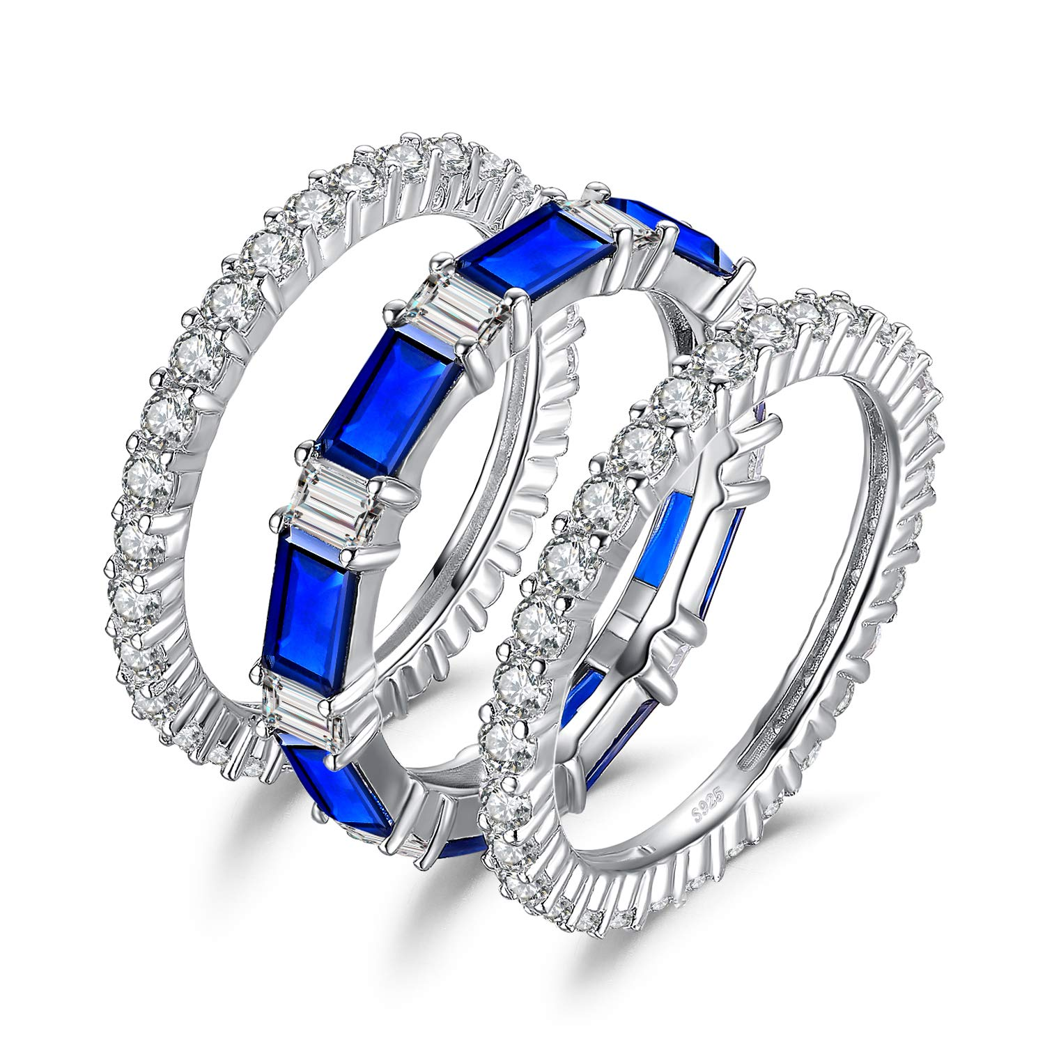 JewelryPalace 3PC 7ct Stackable Eternity Rings Wedding Rings Wedding Bands For Women Anniversary Ring Channel Bridal Sets 925 Sterling Silver Created Blue Spinel Cubic Zirconia Rings Size 8