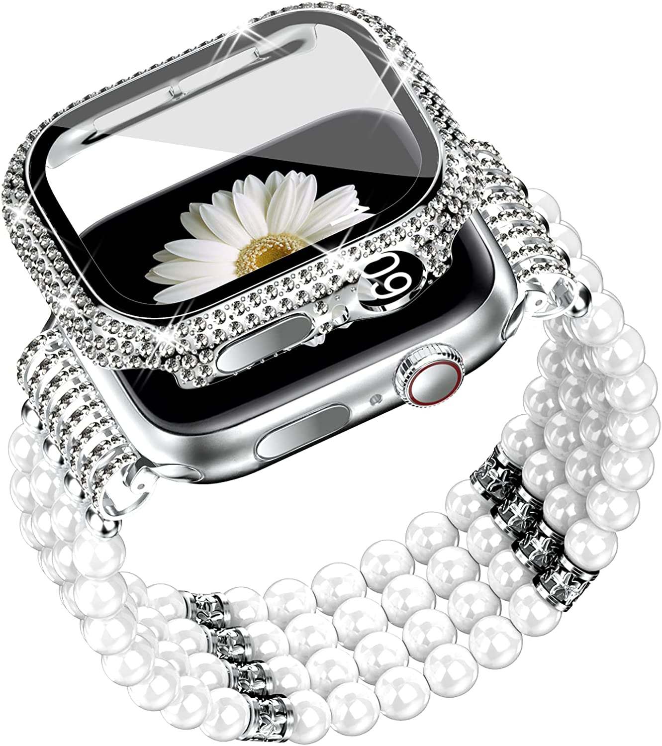 DABAOZA Compatible for Apple Watch Band and Case 40mm 44mm with Screen Protector , Women Bling Handmade Beaded Elastic Stretch Pearl Bracelet Strap for iWatch SE Series 6/5/4
