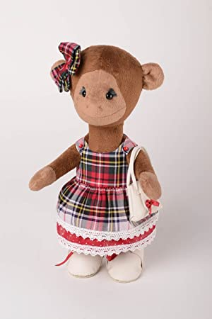 Muneco de tela juguete artesanal peluche original monito vestido y con volso