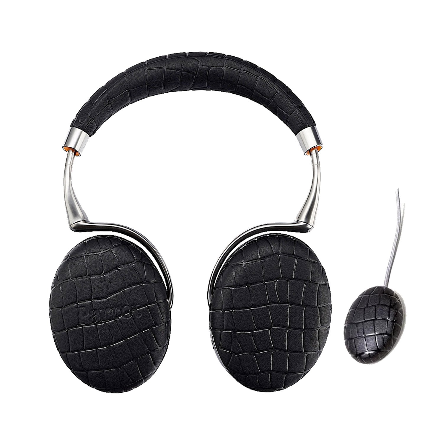 Parrot Zik 3 Wireless Noise Cancelling Headphones With Parrot Wireless Charge Accessory in Matching Color (Black Croc)