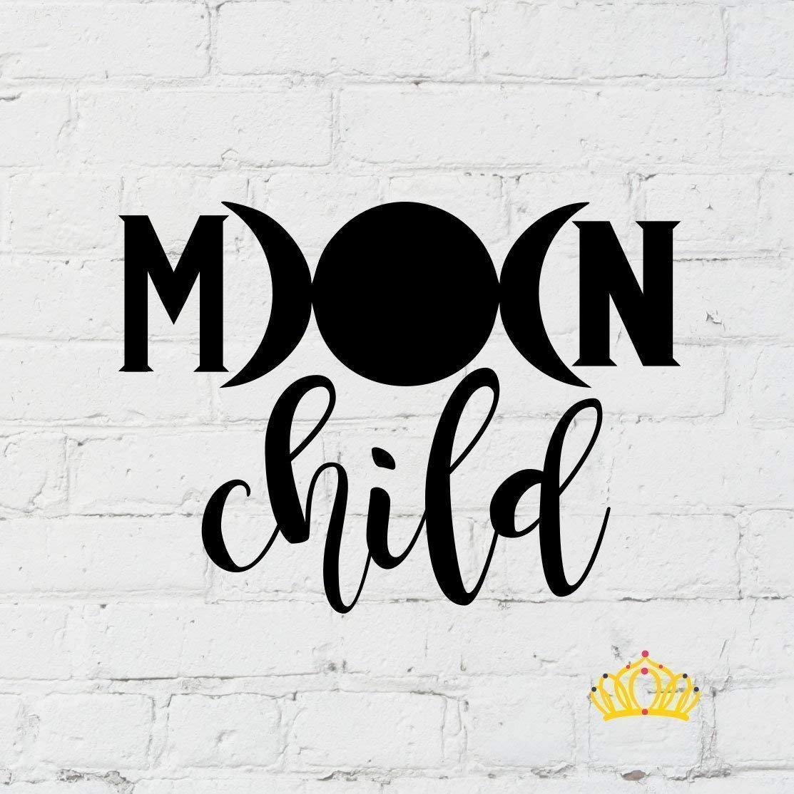 Tumbler Moon Child Vinyl Decal Sticker for Car Laptop or Cup,- Black 3 inches