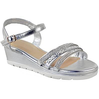 c16b8e37bfb3 Fashion Thirsty Womens Ladies Low Wedge Sandals Diamante Sparkly Ankle  Strap Shoes Size UK