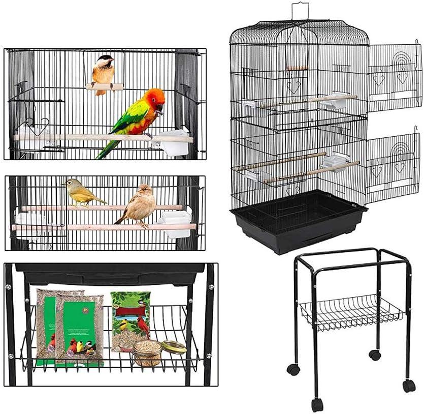 YIFAA Gabbia Voliera Portatile con Supporto Staccabile 4 Ruote Girevoli per Cockatiel Conure Parrocchetto Budgie e Lovebird