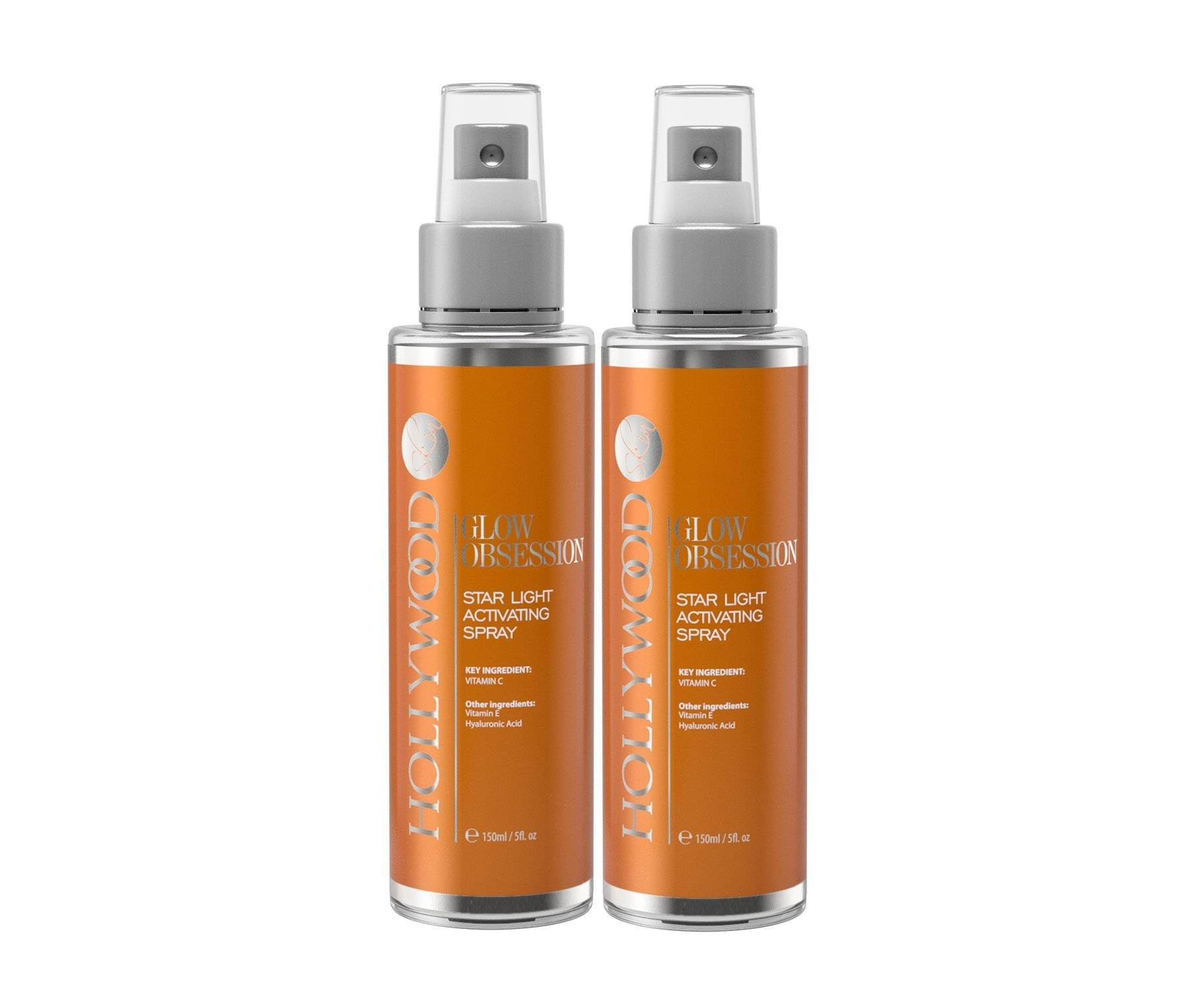 GLOW OBSESSION - 20% Vitamin C Facial Spray. Anti-aging and deeply moisturising. 4x STONGER than the competitors. With 10% Hyaluronic Acid, 1% Vitamin E + Witch Hazel. 150 ml (2 Bottles)